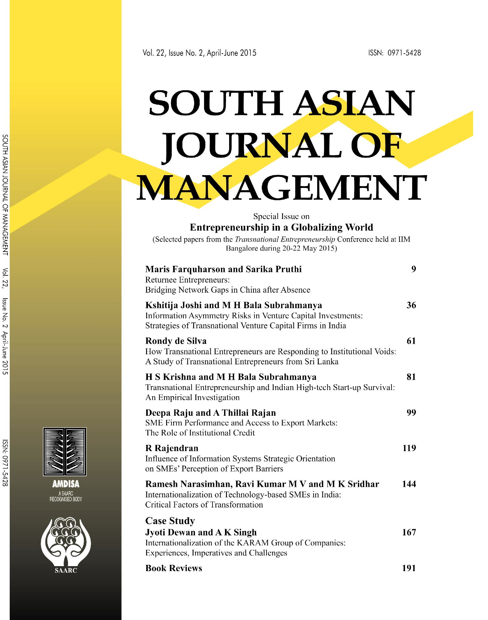 Issue No. 1 April - June 2015